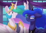 2018 annoyed blue_feathers cosmic_hair crown cute duo equine eyebrows eyelashes eyeshadow feathered_wings feathers female feral floppy_ears friendship_is_magic frown grin hair half-closed_eyes hi_res hooves horn inside long_hair looking_away makeup mammal mascara multicolored_hair my_little_pony nude princess_celestia_(mlp) princess_luna_(mlp) purple_eyes rainbow_hair raised_eyebrow royalty sibling signature sisters smile standing taneysha teal_eyes teeth url white_feathers window winged_unicorn wings