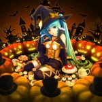 1girl bangs bat black_gloves black_hat black_legwear black_skirt blue_eyes blue_hair bow breasts cake elbow_gloves eyebrows_visible_through_hair food frilled_skirt frills full_body gloves gradient_hair green_hair halloween halloween_costume hat hat_bow hatsune_miku head_tilt highres leg_ribbon long_hair medium_breasts miniskirt multicolored_hair necktie open_mouth orange_bow orange_ribbon pumpkin red_neckwear ribbon sitting skirt solo sugimasa thighhighs twintails two-tone_hair very_long_hair vocaloid witch_hat zettai_ryouiki