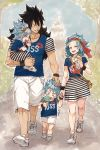 2boys 2girls black_hair blue_hair blue_shirt blue_sky closed day eyes eyes_closed fairy_tail flower food gajeel_redfox grin hair_flower hair_ornament hand_holding hand_on_another's_head headband holding holding_food holding_person ice_cream levy_mcgarden long_hair miniskirt multiple_boys multiple_girls nose_piercing open_mouth outdoors piercing rusky shirt shoes short_sleeves shorts skirt sky smile sneakers striped striped_skirt tongue tongue_out tree white_footwear white_shorts wristband yellow_flower