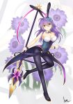 1girl anemone_(flower_knight_girl) animal_ears blue_eyes blush breasts bunny_ears bunny_girl bunnysuit easter flower flower_knight_girl hair_flower hair_ornament hairclip kimukimu long_hair looking_at_viewer polearm purple_eyes purple_hair solo spear thighhighs weapon