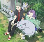 1boy 1girl :3 acerola_(pokemon) alolan_form alolan_meowth alolan_persian black_jacket black_pants chain-link_fence closed_mouth dress eyes_closed fence gen_7_pokemon grey_hair jacket jewelry kuchinashi_(pokemon) mimikyu necklace pants pippi_(pixiv_1922055) pokemon pokemon_(creature) purple_dress purple_hair red_eyes red_shirt sandals shirt sitting smile vending_machine
