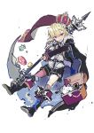 1boy belt black_cape black_footwear black_shorts blonde_hair boots box cape crown full_body holding holding_weapon ikeuchi_tanuma looking_at_viewer male_focus open_mouth original purple_eyes scarf shirt short_shorts shorts simple_background sketch solo weapon white_background white_shirt