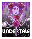 1girl :d ^_^ bare_arms blush bow bowtie copyright_name cup extra_eyes eyes_closed fangs full_body hair_bow highres holding holding_cup insect_girl jumpsuit legs_crossed miki_masao muffet multiple_arms open_mouth outline puffy_short_sleeves puffy_sleeves purple_hair purple_skin red_bow red_neckwear short_hair short_sleeves silk smile solo spider_girl spider_web standing teacup teapot two_side_up undertale watson_cross white_outline