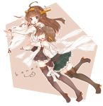 2girls ahoge artist_name bare_shoulders black_skirt boots brown_hair cup detached_sleeves double_bun eyes_closed full_body green_skirt headgear heart hiei_(kantai_collection) highres holding holding_cup hug hug_from_behind inorin05kanae kantai_collection kongou_(kantai_collection) long_hair looking_at_another multiple_girls nontraditional_miko open_mouth plaid plaid_skirt pleated_skirt remodel_(kantai_collection) sarashi short_hair skirt thigh_boots thighhighs