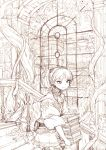 1girl book fantasy garden holding holding_book library monochrome nattorin original overgrown plant running short_hair sketch smile twintails vines window