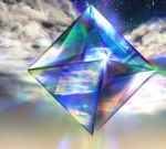 cloud higami_akabane neon_genesis_evangelion no_humans octahedron ramiel reflection shiny sky star_(sky) starry_sky tagme