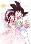 1boy 1girl :d bare_shoulders black_eyes black_hair bouquet bow bowtie chi-chi_(dragon_ball) commentary_request couple dragon_ball dragon_ball_(classic) dress elbow_gloves eyelashes fingernails flower flying_nimbus formal gloves happy hetero highres holding image_sample jewelry looking_at_viewer necklace open_mouth pearl_necklace pink_dress pink_flower purple_flower rose short_hair simple_background sleeveless sleeveless_dress smile son_gokuu spiked_hair suit tied_hair tkgsize twitter_sample v veil wedding_dress white_background white_flower white_rose white_suit