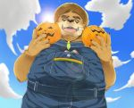 2018 anthro bear blush brown_fur clothed clothing eyes_closed eyewear food fruit fur glasses male mammal nikiciy overalls overweight overweight_male pumpkin solo tokyo_afterschool_summoners volos