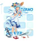 1girl alternate_costume anchor animal bag bird blue_bow blue_eyes blue_hair blue_nails blue_neckwear blue_ribbon blue_wings blush bow character_name cirno commentary contemporary dress ekita_xuan english english_commentary eyebrows_visible_through_hair flower food full_body hair_flower hair_ornament handbag hat hat_bow highres holding holding_food ice ice_wings kneehighs leaf mary_janes nail_polish neck_ribbon petticoat pink_flower puffy_short_sleeves puffy_sleeves red_footwear ribbon rope seagull see-through shaved_ice shell shoes short_hair short_sleeves solo standing starfish sun_hat tan tanned_cirno touhou translation_request white_background white_dress white_legwear wing_collar wings wrist_ribbon yellow_flower