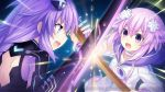 blue_eyes braid brave_neptune breasts d-pad d-pad_hair_ornament fighting game_cg hair_ornament long_hair looking_at_viewer multiple_girls neptune_(choujigen_game_neptune) neptune_(series) official_art open_mouth purple_eyes purple_hair purple_heart short_hair sword symbol-shaped_pupils tsunako twin_braids very_long_hair weapon