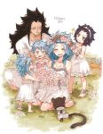 2boys 3girls :d anklet bare_shoulders black_hair blue_hair breasts brown_eyes cleavage crossed_arms detached_sleeves dress eyes_closed fairy_tail flower gajeel_redfox hair_flower hair_ornament head_tilt head_wreath indian_style jewelry kneeling levy_mcgarden long_hair mother's_day multiple_boys multiple_girls nose_piercing open_mouth pantherlily pants piercing pink_flower pink_rose rose rusky scar shirt short_dress short_sleeves simple_background sitting sleeveless sleeveless_dress small_breasts smile standing sundress very_long_hair white_background white_dress white_pants white_shirt