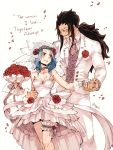 1boy 1girl black_hair blue_hair blush bouquet breasts bridal_veil choker cleavage collarbone couple dress english eye_contact fairy_tail flower formal gajeel_redfox hair_flower hair_ornament hand_holding holding holding_bouquet jacket levy_mcgarden long_hair looking_at_another medium_breasts nail_polish pants petals pink_nails ponytail red_flower red_rose rose rusky simple_background sleeveless sleeveless_dress smile standing strapless strapless_dress thigh_strap veil very_long_hair wedding_dress white_background white_dress white_jacket white_pants