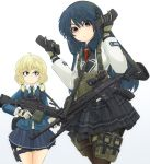 2girls acog aqua_eyes assault_rifle between_breasts bipod blonde_hair blue_hair brown_legwear bullet commentary_request gloves gradient gradient_background graphite_(medium) gun heckler_&_koch highres hk416 holster holstered_weapon ichigotofu load_bearing_vest m249 m27_iar machine_gun magazine_(weapon) mechanical_pencil military multiple_girls necktie original pantyhose pencil red_eyes reflex_sight rifle strap_cleavage thigh_holster traditional_media vertical_foregrip weapon