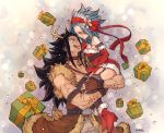 1girl animal_costume antlers black_hair black_legwear blue_hair blush boots box brown_gloves dress elbow_gloves eye_contact fairy_tail fingerless_gloves fur_trim gajeel_redfox garter_straps gift gift_box gloves grey_pants headband holding_person levy_mcgarden long_hair looking_at_another nose_piercing pants piercing red_dress red_footwear red_gloves red_ribbon reindeer_antlers reindeer_costume ribbon rusky santa_boots santa_costume short_dress signature sleeveless sleeveless_dress strapless strapless_dress thighhighs tongue tongue_out very_long_hair