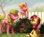 2015 absurd_res blonde_hair cloud cute cutie_mark daisy_(mlp) earth_pony equine eyebrows eyelashes eyes_closed female fence feral flower flower_in_hair friendship_is_magic grass green_eyes green_hair grin group hair happy hi_res holivi hooves horse leaning leaning_forward lily_(mlp) mammal my_little_pony nude orange_eyes outside plant pony red_hair rose rose_(mlp) shadow shrub signature sitting sky smile standing teeth tree