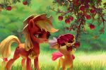 2015 absurd_res apple apple_bloom_(mlp) apple_tree applejack_(mlp) bite blonde_hair cowboy_hat cute cutie_mark duo earth_pony equine eyebrows eyelashes female feral food freckles friendship_is_magic fruit grass green_eyes grin hair hair_bow hair_ribbon hair_tie happy hat hi_res holivi hooves horse leaves mammal mouth_hold my_little_pony nude orange_eyes outside pony red_hair ribbons sibling signature sisters smile standing teeth tree tree_branch young