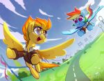2018 blue_feathers celebi-yoshi clothed clothing cloud coat cute duo equine eyelashes eyewear feathered_wings feathers female feral flying friendship_is_magic hair happy hi_res hooves looking_back mammal multicolored_hair my_little_pony open_mouth open_smile orange_eyes orange_hair outside pegasus purple_eyes rainbow_dash_(mlp) rainbow_hair signature sky smile spitfire_(mlp) spread_wings sunglasses tongue underhoof wings wonderbolts_(mlp) yellow_feathers