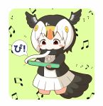 1girl atlantic_puffin_(kemono_friends) bangs beamed_eighth_notes bird_girl bird_tail bird_wings black_hair black_jacket black_scarf blazer blush_stickers bob_cut border breasts chibi commentary_request cropped_legs eighth_note eyebrows_visible_through_hair green_background head_wings highres holding holding_instrument instrument jacket kemono_friends keyboard_(instrument) long_sleeves looking_down melodica miniskirt multicolored_hair music musical_note necktie open_blazer open_clothes open_jacket parted_bangs playing_instrument pleated_skirt rakugakiraid red_eyes rounded_corners scarf short_hair simple_background skirt small_breasts solo speech_bubble sweater_vest tareme translation_request white_border white_hair white_neckwear white_skirt wings