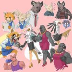 2boys 5girls aggressive_retsuko bird black_skirt blue_skirt blush bottle cellphone chenpn clenched_hand dress drinking eagle earrings elephant eyes_closed fennec_fox fenneko folder gori_(aggretsuko) gorilla haida high_heels holding holding_microphone hyena jacket jewelry kangaroo kicking laughing leather leather_jacket looking_at_another microphone motion_blur multiple_boys multiple_girls multiple_views necklace necktie office_lady papers pencil_skirt phone pink_background pink_dress pink_footwear red_neckwear red_panda retsuko shachou_(aggretsuko) shirt sketch skirt smartphone sparkle speech_bubble striped striped_shirt tongue tongue_out washimi water_bottle yoga_instructor