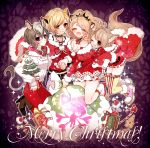 4girls :d animal_ears black_choker blonde_hair blush boots breasts brown_footwear brown_hair candy candy_cane character_request chino_machiko choker cleavage closed_mouth eyes_closed fingernails food fur_trim gift high_heel_boots high_heels hug hug_from_behind jewelry kneeling legs_together merry_christmas multiple_girls nail_polish necklace open_mouth pants purple_eyes red_nails red_pants sack shoes show_by_rock!! smile tail thighhighs yellow_neckwear