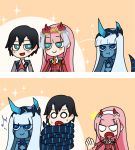 /\/\/\ 001_(darling_in_the_franxx) 1boy 2girls 2koma :t bangs black_hair blank_eyes blue_eyes blue_horns blue_skin blush_stickers comic commentary commentary_request couple darling_in_the_franxx eyebrows_visible_through_hair facial_scar flower fringe green_eyes hair_flower hair_ornament hairband hetero highres hiro_(darling_in_the_franxx) horns jealous light_blue_hair long_hair looking_at_another mato_(mozu_hayanie)_(style) military military_uniform multiple_girls musical_note necktie netorare oni_horns orange_neckwear parody pink_hair pout red_horns red_neckwear scar short_hair silent_comic spoilers spoken_musical_note style_parody sweat uniform user_cvct8874 white_hairband zero_two_(darling_in_the_franxx)