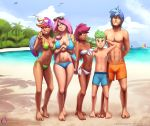 2018 aged_up alternate_species beach bikini breasts clothing dark_skin darkhazard digital_media_(artwork) eyewear feathered_wings feathers female fluttershy_(mlp) friendship_is_magic green_eyes group hair hand_behind_back hi_res human humanoid humanoidized long_hair looking_at_viewer male mammal multicolored_hair my_little_pony navel not_furry one_eye_closed outside pink_hair rainbow_dash_(mlp) scootaloo_(mlp) seaside shining_armor_(mlp) small_breasts spike_(mlp) standing sunglasses swimsuit v_sign winged_humanoid wings wink young