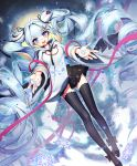 ahoge andante bangs blue_eyes blue_hair falling floating hair_ornament hatsune_miku hood hoodie long_hair long_sleeves looking_at_viewer open_mouth pleated_skirt ribbon skirt smile thighhighs twintails vocaloid wavy_hair white_hair winter yuki_miku