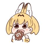 :d animal_ears batta_(ijigen_debris) blonde_hair blush_stickers brown_eyes chibi commentary_request eating elbow_gloves food gloves holding holding_food japari_bun kemono_friends open_mouth serval_(kemono_friends) serval_ears serval_print short_hair simple_background smile upper_body white_background