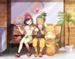 1boy 1girl :d ^_^ ^o^ alolan_raichu bag bangs beanie bench black_hair black_shirt collarbone day eating eyes_closed facing_viewer feeding floral_print full_body gen_7_pokemon green_hair green_shorts grey_eyes hand_up hat hau_(pokemon) holding_foot looking_at_another mei_(maysroom) mizuki_(pokemon) open_mouth orange_footwear orange_pants outdoors pants plant pokemon pokemon_(creature) pokemon_(game) pokemon_sm potted_plant print_pants print_shirt red_hat round_teeth rowlet shirt shoes short_hair short_sleeves shorts sidelocks sitting smile sneakers swept_bangs t-shirt teeth tied_shirt topknot trash_can window yellow_shirt