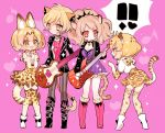 !! 4girls :d animal_ears big_hair black_choker black_footwear black_jacket blonde_hair boots bow bowtie cheety_(show_by_rock!!) chino_machiko choker crossover elbow_gloves gloves guitar heart high-waist_skirt holding holding_instrument instrument jacket jaguar_(kemono_friends) kemono_friends laina_(show_by_rock!!) long_sleeves multiple_girls musical_note open_mouth orange_skirt pantyhose paw_pose pink_background pink_footwear pink_shirt serval_(kemono_friends) serval_ears serval_print serval_tail shirt shoes short_hair short_sleeves show_by_rock!! skirt smile sparkle standing striped striped_legwear tail thighhighs white_footwear zettai_ryouiki