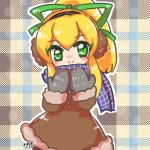 1girl blonde_hair brown_coat capcom child coat eyebrows_visible_through_hair fut_trim green_eyes green_ribbon hair_between_eyes hair_oranement hair_ribbon long_hair lowres mittens pattern patterned_backgrund ponytail rairai00 ribbon rockman rockman_(classic) roll scarf sidelocks smile solo winter_clothes