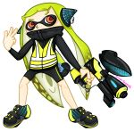 2018 agent_3 alpha_channel cephalopod clothing collar female full_body green_hair hair headphones hi_res humanoid inkling marine mask nintendo not_furry signature solo splatoon squid superpooper24 tentacles v_sign video_games weapon