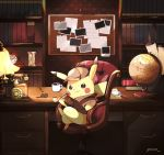 book bookshelf brown_hat brown_jacket chair clock closed_mouth coffee coffee_mug cup deerstalker desk detective_pikachu drawer fountain_pen full_body gen_1_pokemon globe great_detective_pikachu:_the_birth_of_a_new_duo hat holding holding_pipe hourglass indoors jacket lamp legs_crossed long_sleeves looking_at_viewer magnifying_glass mei_(maysroom) mug no_humans pen pen_holder phone pikachu pipe pokemon_(creature) roman_numerals sitting smirk solo twitter_username v-shaped_eyes