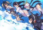 5girls :d black_footwear black_hair blonde_hair blue_sky boots breasts cleavage cloud drawstring emperor_penguin_(kemono_friends) eyebrows_visible_through_hair falling gentoo_penguin_(kemono_friends) guchico hair_between_eyes hair_over_one_eye hand_holding headphones highleg highleg_leotard hood hoodie humboldt_penguin_(kemono_friends) impossible_clothes impossible_leotard kemono_friends leotard long_hair multicolored_hair multiple_girls open_mouth orange_hair penguin_tail penguins_performance_project_(kemono_friends) pink_footwear pink_hair red_eyes red_hair rockhopper_penguin_(kemono_friends) royal_penguin_(kemono_friends) sketch sky smile streaked_hair tail turtleneck white_hair