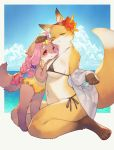 2girls artist_request bra character_request copyright_request dog furry green_eyes multiple_girls panties pink_hair red_eyes smile swimsuit