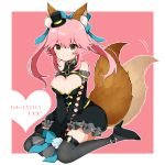 1girl animal_ears bangs bare_shoulders black_footwear black_legwear blue_bow bow breasts cleavage cleavage_cutout copyright_name detached_sleeves eyebrows_visible_through_hair fate/extra fate/extra_ccc fate_(series) flower fox_ears fox_tail full_body hair_bow happy hat heart high_heels highres large_breasts long_hair long_sleeves looking_at_viewer mini_hat mini_top_hat o-ring pink_hair rose shoes sitting sleeves_past_fingers smile solo tail tail_wagging takae_(poupee_en_biscuit) tamamo_(fate)_(all) tamamo_no_mae_(fate) thighhighs top_hat wariza white_flower white_rose yellow_eyes