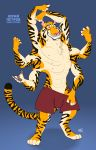 2018 6_arms anthro bulge clothed clothing english_text feline kobi_lacroix looking_at_viewer male mammal multi_arm multi_limb nipples russian_text shorts smile text tiger yellow_eyes