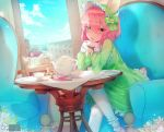 animal_ears bangs cup dress fang fantasy furry green_eyes hair_ornament hair_over_eyes hairband highres lolita_hairband oncha open_mouth original pantyhose pink_hair short_hair sitting tea teacup trap window