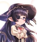 1girl bangs black_dress black_hair black_hat black_ribbon blunt_bangs blush book center_frills closed_mouth commentary_request dress eyebrows_visible_through_hair eyepatch floating_hair frilled_dress frills glint gothic_lolita granblue_fantasy harvin hat hat_ribbon highres holding holding_book juliet_sleeves lolita_fashion long_hair long_sleeves looking_at_viewer lunalu_(granblue_fantasy) object_hug pointy_ears puffy_sleeves purple_eyes ribbon shiny shiny_hair sidelocks simple_background smile solo sparkle striped striped_ribbon tearing_up tomo_(user_hes4085) upper_body white_background white_dress white_ribbon