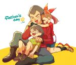 1girl 2boys bandanna brown_hair family father's_day father_and_daughter father_and_son flower glasses green_shirt haruka_(pokemon) hug hug_from_behind kneeling long_sleeves masato_(pokemon) multiple_boys pokemon pokemon_(anime) pokemon_ag senri_(pokemon) shirt short_sleeves shorts simple_background sitting soha_(yacht) white_background