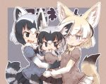 3girls :d animal_ears black_eyes black_hair blonde_hair blue_eyes borrowed_character commentary_request common_raccoon_(kemono_friends) extra_ears eyes_closed fang fennec_(kemono_friends) fox_ears fox_tail girl_sandwich grey_hair group_hug hug if_they_mated kemono_friends kolshica multicolored_hair multiple_girls open_mouth outline pleated_skirt puffy_short_sleeves puffy_sleeves raccoon_ears raccoon_tail sandwiched short_hair short_sleeves skirt smile tail white_hair white_outline