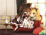 2girls alternate_costume animal_ears black_dress black_footwear black_ribbon blonde_hair blush bow bowtie braid brown_eyes brown_hair cake cat_ears cat_tail chibi commentary_request couch cup curtains dress enmaided eye_contact eyebrows_visible_through_hair food from_behind full_body green_bow green_neckwear hair_between_eyes hair_bow hair_ribbon hakurei_reimu indoors kemonomimi_mode kirisame_marisa long_hair looking_at_another maid maid_headdress mary_janes multiple_girls petticoat pillow piyokichi profile puffy_short_sleeves puffy_sleeves ribbon shoes short_sleeves single_braid sitting table tail teacup thighhighs touhou wavy_hair white_bow white_legwear window wrist_cuffs yarn yarn_ball yellow_eyes yuri zettai_ryouiki