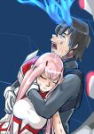 1boy 1girl bangs black_hair blossomppg blue_horns bodysuit breasts broken_horn commentary couple crying darling_in_the_franxx eyes_closed hand_on_another's_arm hand_on_another's_face hetero highres hiro_(darling_in_the_franxx) horns hug hug_from_behind long_hair medium_breasts oni_horns pink_hair red_horns short_hair signature tears torn_bodysuit torn_clothes zero_two_(darling_in_the_franxx)