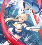 1girl absurdres ayanami_(azur_lane) azur_lane blonde_hair blue_neckwear blue_sailor_collar blue_skirt choker cropped_legs expressionless hakuhou_(ende_der_welt) highres holding holding_sword holding_weapon long_hair looking_at_viewer midriff navel necktie ponytail red_eyes sailor_collar shirt skirt solo sword thighhighs water weapon white_legwear white_shirt yellow_neckwear zettai_ryouiki
