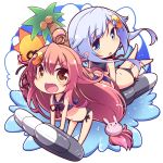 2girls :d adapted_costume bikini blue_bikini blue_eyes bunny_hair_ornament crescent crescent_hair_ornament fang hair_ornament hirose_madoka kantai_collection long_hair multiple_girls open_mouth parted_lips pink_hair purple_hair short_hair_with_long_locks side-tie_bikini smile swimsuit torpedo uzuki_(kantai_collection) v-shaped_eyebrows yayoi_(kantai_collection) yellow_eyes
