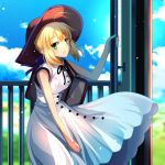 1girl ahoge artoria_pendragon_(all) bag bangs black_ribbon blonde_hair blue_ribbon blue_sky brown_hat cimeri cloud cowboy_shot day dress eyebrows_visible_through_hair fate/stay_night fate_(series) green_eyes hair_between_eyes hair_ribbon hat long_hair neck_ribbon outdoors ribbon saber short_hair_with_long_locks sidelocks sky sleeveless sleeveless_dress smile solo standing sun_hat sundress sunlight white_dress