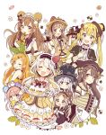 6+girls :d :o ;q absurdres ahoge animal_ears apron bangs bear_ears bear_hat black_eyes blonde_hair blue_eyes blunt_bangs blush bow brown_eyes brown_gloves brown_hair cake dress eating flower food food_themed_clothes food_themed_hair_ornament frilled_gloves frills fruit fur-trimmed_gloves fur_trim gloves green_eyes hair_bow hair_ornament hair_ribbon hairband hairpin hand_on_own_chest hand_to_own_mouth hands_on_another's_head hat heterochromia highres holding holding_tray jitome leaf_hair_ornament long_hair looking_at_viewer looking_back macaron maid multiple_girls one_eye_closed open_mouth original pink_hair pudding ribbon sakura_oriko silver_hair sleeves_past_wrists smile strawberry strawberry_hair_ornament tongue tongue_out tray twintails white_gloves wide_sleeves x_hair_ornament yellow_bow yellow_eyes