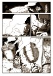 2girls boned_meat comic cooking crossover cup food fumafu gammoth_(armor) highres kagamihara_nadeshiko lagombi_(armor) meat monochrome monster_hunter multiple_girls shima_rin silent_comic smoke tent yunomi yurucamp