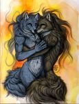 2011 anisis anthro blue_eyes breasts canine duo female fluffy hi_res hug looking_at_viewer lying male mammal navel romantic_couple wolf