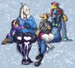 alphys beverage carrying clothed clothing happy hot_chocolate hug kitterjitters leggings legwear monster_kid on_lap piggyback protagonist_(undertale) sitting_on_lap snow toriel undertale undyne video_games